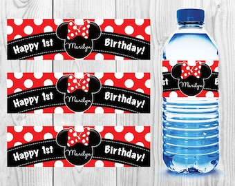 MINNIE MOUSE BIRTHDAY Water Bottle Labels - Stickers - Waterproof - Mickey Mouse - Party - Oh toodles - Red