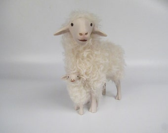 Alpines Steinschaf Straddling a Lamb in Porcelain and Mohair