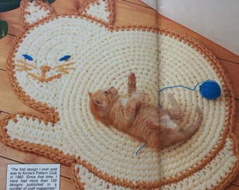 Pdf 1991 vintage crochet cat rug pattern,  crochet cat bed, cat pad,