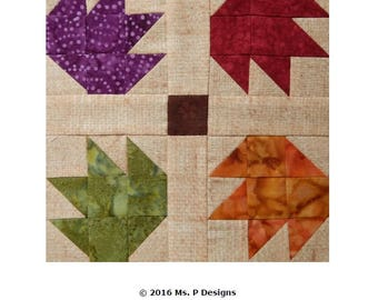 Leaves downloadable PDF easy pieced quilt block pattern; simple quick pieced quilt block; fast and easy traditional quilt block