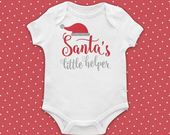 CHRISTMAS Baby, Christmas Outfit, Santa's Little Helper, Newborn Outfit, Baby Bodysuit, Red, Silver, Baby, Girl, Glitter Vinyl Applique