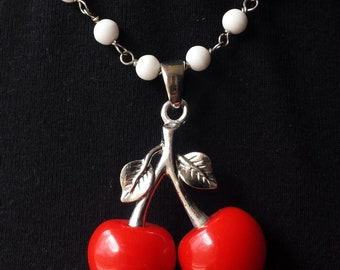 Cherry Pendant with Handmade Bead Chain