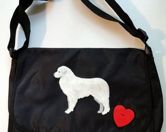 Great Pyrenees Dog Hand Painted Messenger Bag