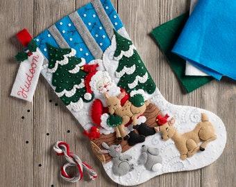 BUCILLA 86865 Santa's Forest Family Kit Stocking, Multi