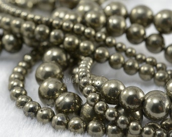 natural pyrite smooth round beads - quality pyrite gemstone jewelry beads - Fools Gold round stone beads - 4-10mm ball beads - 15inch strand