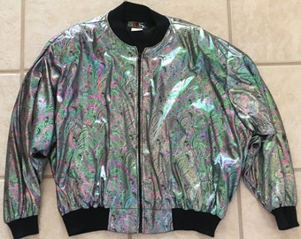 """Vintage 1980s' Womens Shiny Metallic Rainbow Print Stretch Polyester Bomber Jacket by """"Made in the USA"""" Size XL- shiny bomber jacket, 1980s"""