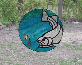 Trout Chasing Fly Stained Glass Suncatcher
