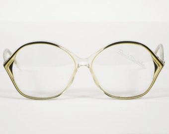 Renato Balestra NOS 1970er Jahren Bilderrahmen Vintage klar w / schwarz-gelbe Kunststoff Brille