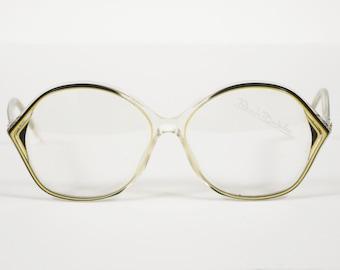 Renato Balestra NOS 1970s Vintage Clear w/ Black & Yellow Plastic Eyeglasses Frames