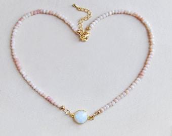 Moonstone Choker, Opal Necklace, Pink Opal Necklace, Moonstone Necklace, Short Necklace, Millennial Pink, Pink Necklace, Natural Pink Opal