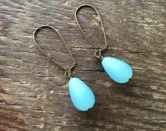 Short Matte Blue Glass Teardrop Earrings