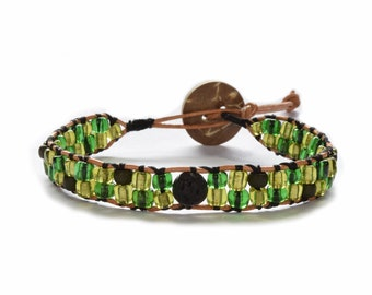 Green Seed Bead Leather Wrap Diffuser Bracelet