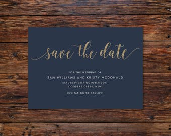 Navy with Gold | Save the Date Cards A6 (Digital File - Printable PDF)