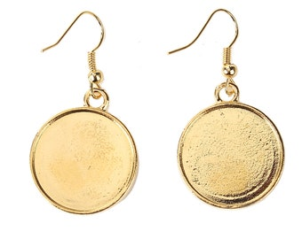 5 pairs earrings gold 20mm cabochon-