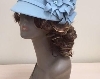 Furfelt Winter Hat Cap Handmade Millinery Blue Women Autumn Custom Hair Accessories Headwear Headpiece