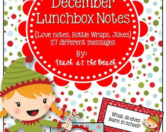 Christmas December Lunchbox Notes, Jokes, and Bottle Wraps