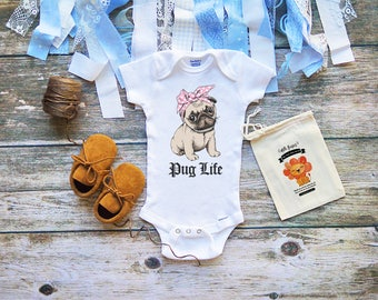 Pug Life Baby Onesie - Cute Pug Puppy Shirts for Babies - Cool Baby Shower Gifts for Girls and Boys - Cute Thug Life - M274