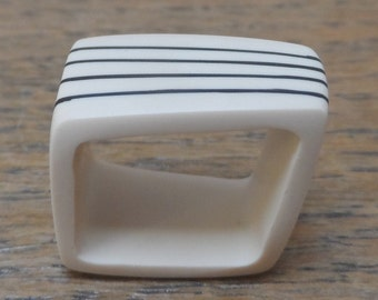 White resin ring/square with black stripes/ Unique statement chunky ring/unique gift for her/ Modern ring/ Fashion ring/unique jewelry