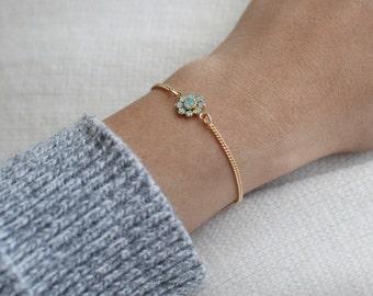 "flower bracelet, pretty dainty bracelet, floral jewelry, bridesmaid jewelry, flower girl bracelet, gold pendant bracelet, ""floret"" bracelet"