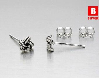 925 Sterling Silver Oxidized Earrings, Semi - Knot Earrings, Stud Earrings (Code : K11B)
