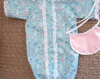 Blue White Pink Bunny Print Baby Sleep Saque Bunting Bib Set Fits Bitty Baby or Other 15 Inch Baby Doll