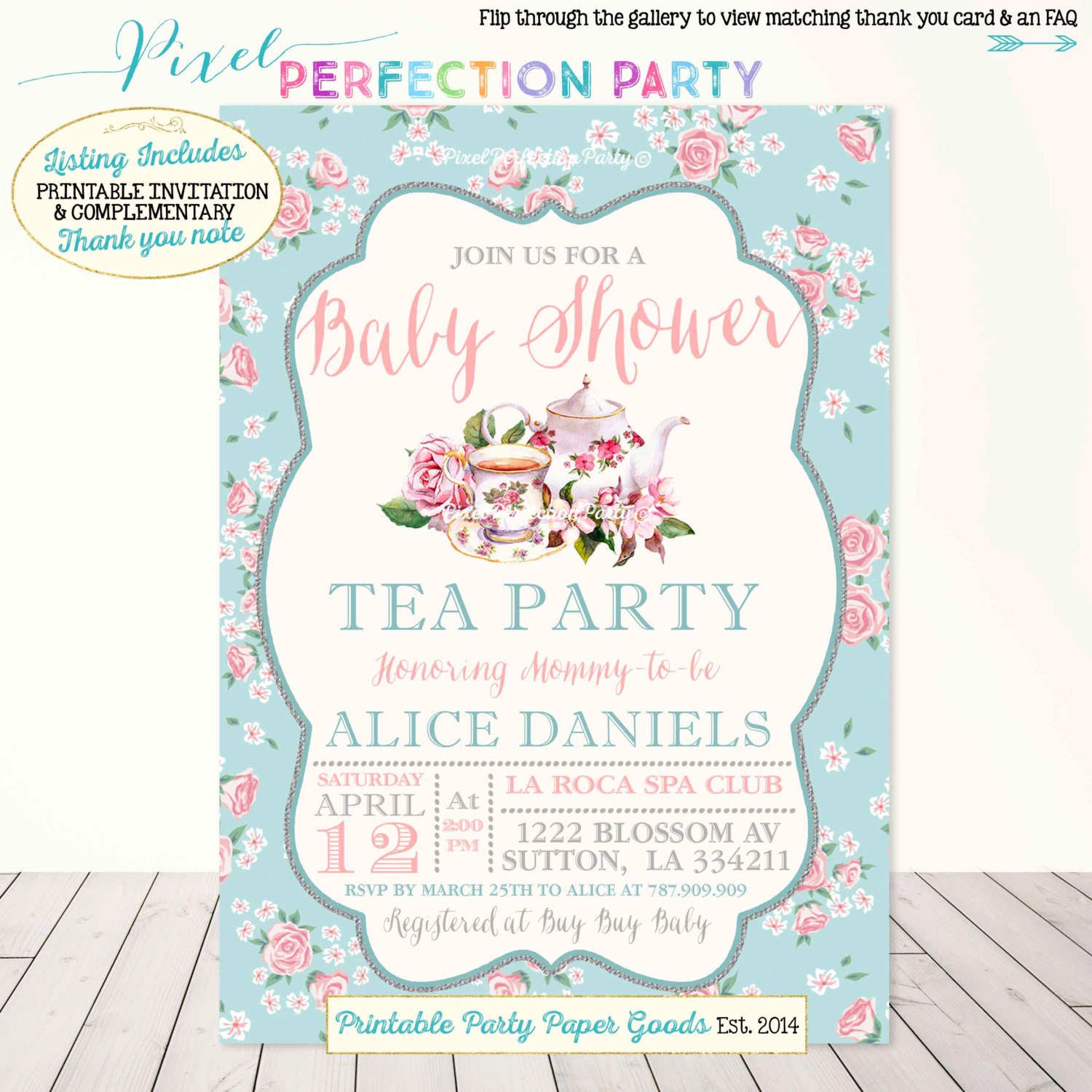 Tea party baby shower invitation vintage tea party baby shower tea party baby shower invitation vintage tea party baby shower invitation a baby is brewing shower shabby chic rose tea party baby shower filmwisefo Gallery