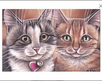 Gray & Orange Tabby Cat Kitten Valentine Acrylic Original Painting 4x6