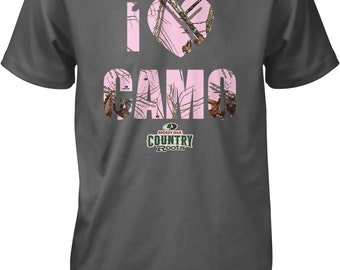 I Love Camo, I Heart Camo, Mossy Oak Break-up Pink Camouflage Men's T-shirt, NOFO_00813