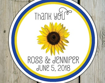 Round Custom Sunflower Favor Labels / Sunflower Stickers - Sunflower Wedding Favor Stickers / Sunflower Shower Labels / Birthday Stickers