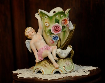 Vintage Bisque Vase With Applied Flowers & Cupid Figure