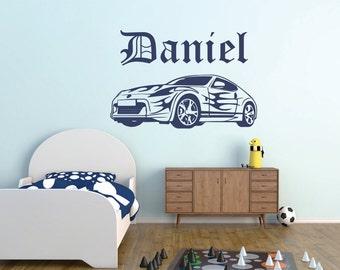 Car wall decal, Boys room car wall decal, Car vinyl wall decal, Car wall sticker, boys room wall decal,race car decal,Personalized car decal