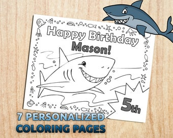 Shark Printable Coloring Pages / Party Activity / Shark Party / Digital / PDF