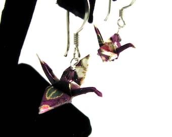 Frieden lila Kran Ohrringe Krane auf Sterling Silber Ohrhaken