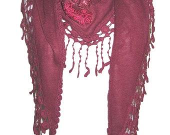 Soft knit triangle scarf with diagonal flower motifs and tassel trim - red - CFOC0644