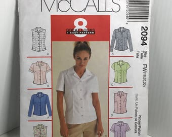 McCall's 2094, blouse, front button, collar,short sleeve,long sleeve,sewing pattern, women's, size 18 20 22  uncut