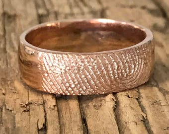 Fingerprint Ring in Rose Gold