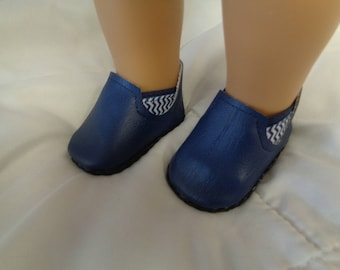 CHELSEA ANKLE BOOTS-Blue Slip on Ankle Boots--for 18 Inch dolls-- Shown on my american girl doll