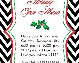 Black Chevron, Holly Holiday Open House Invitation