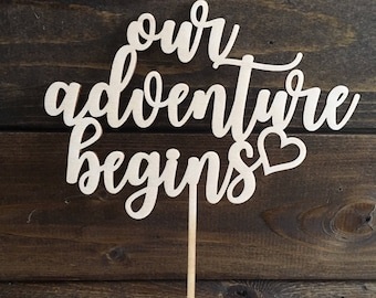 Our Adventure Begins, Wood, Cake Topper, Wedding, Marriage, Wooden, Rustic, Laser, Cut Out, Heart, Love, Mr & Mrs