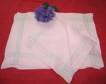 Antique Vintage Placemats~7 Piece Set~Pink Linen-Silver Metallic Embroidery