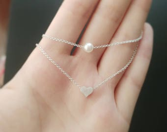 925 Sterling Silver Layered Heart and Pearl Necklace