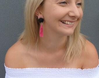 Black + pink tassel earrings