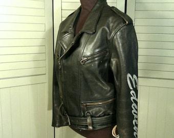 Black Leather Edwin Biker Jacket Vintage Men's Heavy Moto Motorcycle Metal Embroidered Sleeve Signature Rocker Zippers Buckle Belt Designer