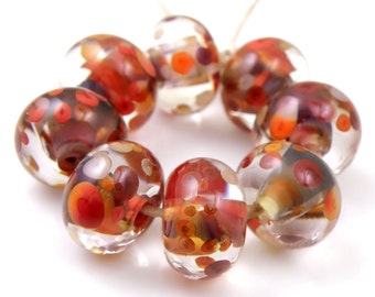 Astarte Swirls SRA Lampwork Handmade Artisan Glass Donut/Round Beads Made to Order Set of 8 8x12mm