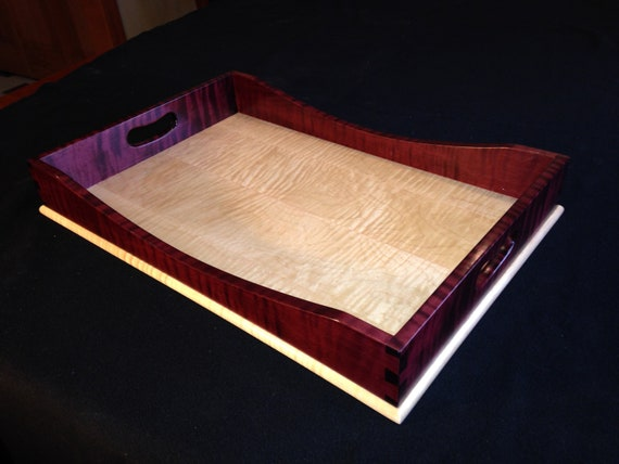15 x 21 Plum & Clear Tiger Maple Tray
