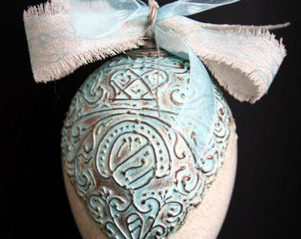 Original Easter egg beautiful handmade and painted ornament 140mm (5.5in) no. 7 (turquoise and gold)