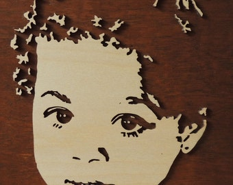 Wooden 3d portrait of your child, custom made
