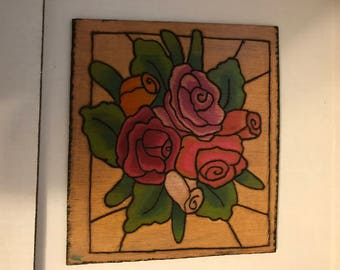 Pyrography and Water Color Wood Burned and Hand Painted Rose