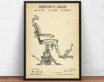 Dentist Chair Patent Print, Digital Download, Vintage Dental Blueprint, Dental Assistant, Dental Decor, Dental Gifts, Dental Clinic Wall Art