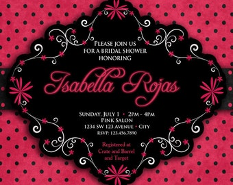 Hot Pink and Black Invitation  - Hot Pink and Black Bridal Shower Invitation - Hot Pink and Black  Birthday Invitation